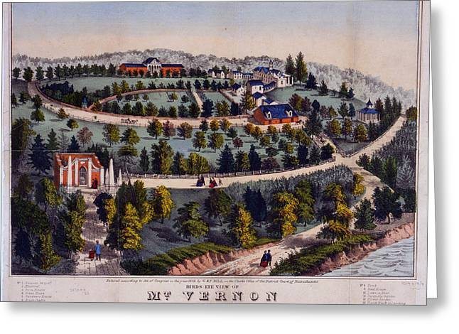 Birds Eye View Of Mt. Vernon The Home Of Washington G. & F Greeting Card