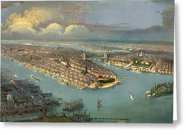 Birds Eye View Of New York City With The Hudson River Greeting Card by Litz Collection