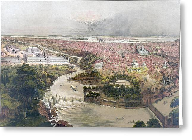 Birds Eye View Of Philadelphia & Centennial Grounds By John Greeting Card by Litz Collection