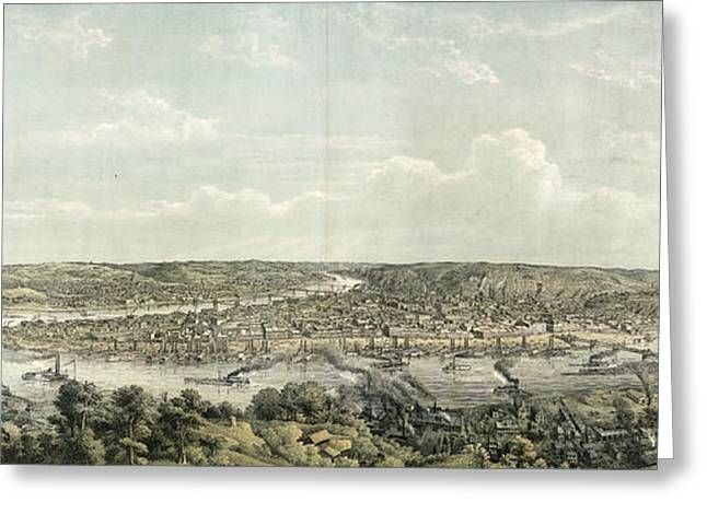 Birds Eye View Of Pittsburgh At The Confluence Greeting Card
