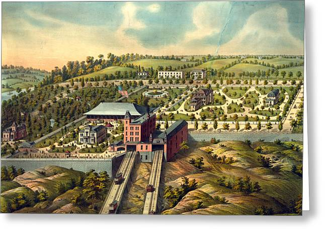 Birds Eye View Of Price Hill Inclined Planes Greeting Card by Litz Collection