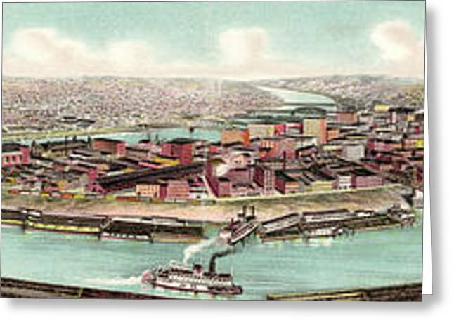 Birds Eye View Of The Skyline Of Pittsburg Greeting Card