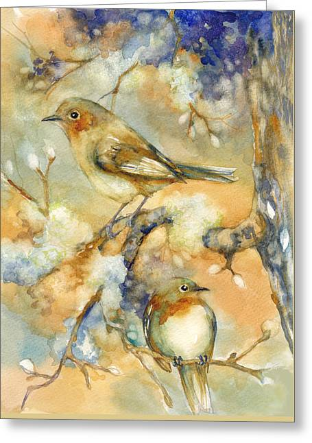Birds In Mossy Branches Greeting Card