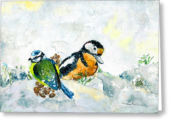 Birds In Snow In Germany Greeting Card by Miki De Goodaboom