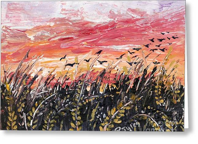 Birds In Wheatfield Greeting Card