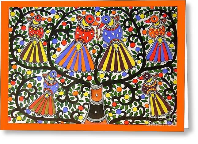 Birds-madhubani Painting Greeting Card