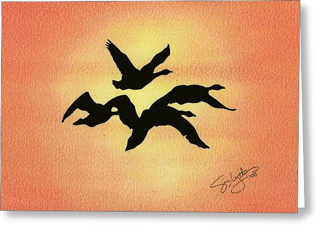 Greeting Card featuring the drawing Birds Of Flight by Troy Levesque