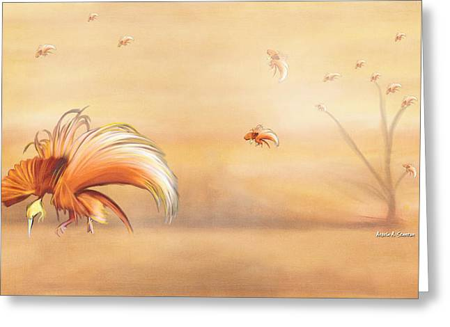 Birds Of Paradise In The Fog Greeting Card by Angela A Stanton