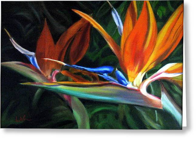 Greeting Card featuring the painting Birds Of Paradise by LaVonne Hand