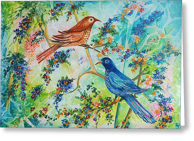 Birds Of Spring Greeting Card