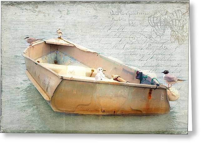 Greeting Card featuring the photograph Birds On A Boat In The Basin by Karen Lynch