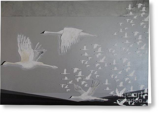 Greeting Card featuring the painting Birds On A Silver Sky by Nereida Rodriguez