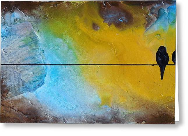 Birds On A Wire Lovebirds Greeting Card