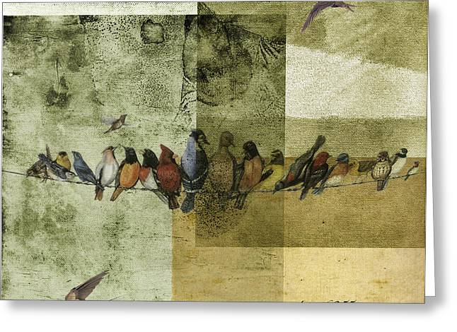 Greeting Card featuring the digital art Birds On A Wire by Melissa Messick