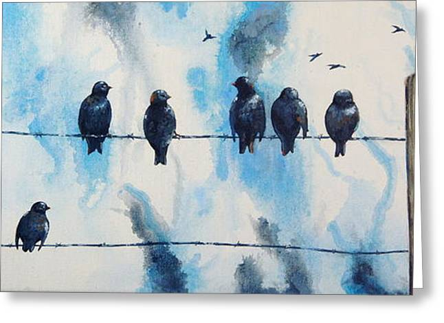 Birds On Barbed Wire Greeting Card