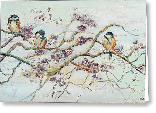 Birds On Cherry Blossom Branch Greeting Card by Patricia Pinto