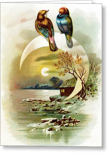 Birds On Crescent Greeting Card by Munir Alawi