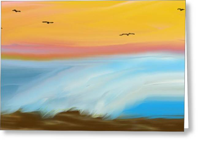 Birds Over The Ocean Greeting Card by Constance Carlsen
