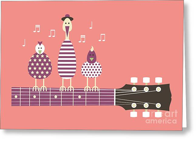 Birds Sing To The Guitar Neck, Vector Greeting Card