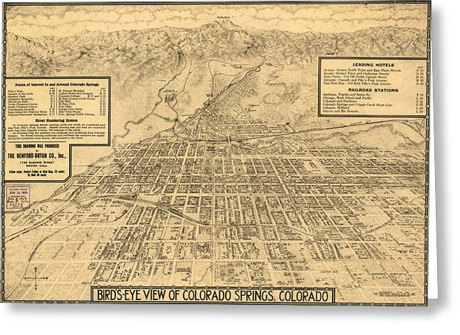 Birdseye Map Of Colorado Springs - 1909 Greeting Card by Eric Glaser