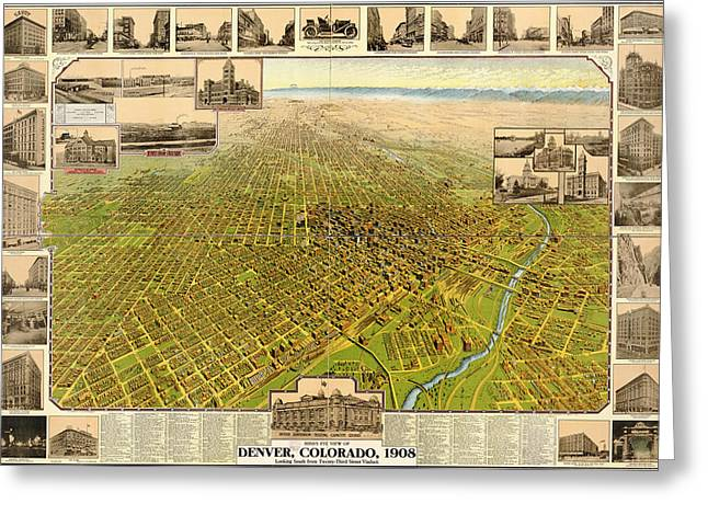 Birdseye Map Of Denver Colorado - 1908 Greeting Card by Eric Glaser