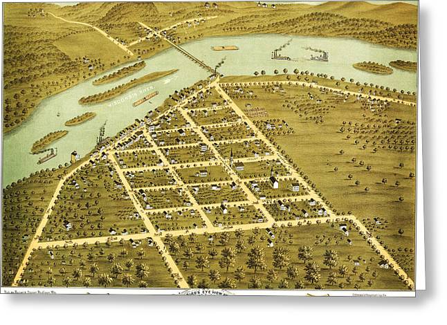 Birdseye View Of Prairie Du Sac Wisconsin 1870 Greeting Card by MotionAge Designs