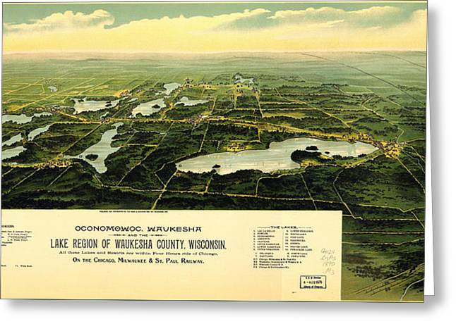 Birdseye View Of Waukesha County Wisconsin 1890 Greeting Card by MotionAge Designs