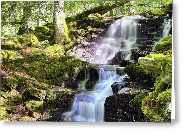 Birks Of Aberfeldy Cascading Waterfall - Scotland Greeting Card