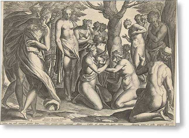 Birth Of Adonis, Philips Galle Greeting Card by Philips Galle