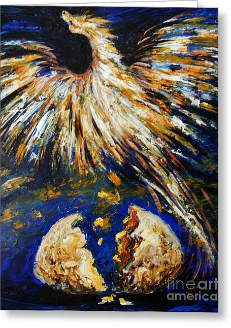 Greeting Card featuring the painting Birth Of The Phoenix by Karen  Ferrand Carroll