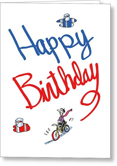 Birthday Bicycle Painter Greeting Card