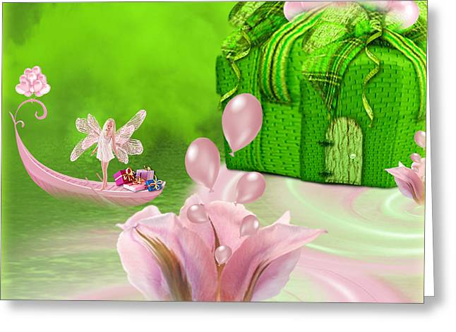 Birthday Fairy Goes To Work - Fantasy Art By Giada Rossi Greeting Card