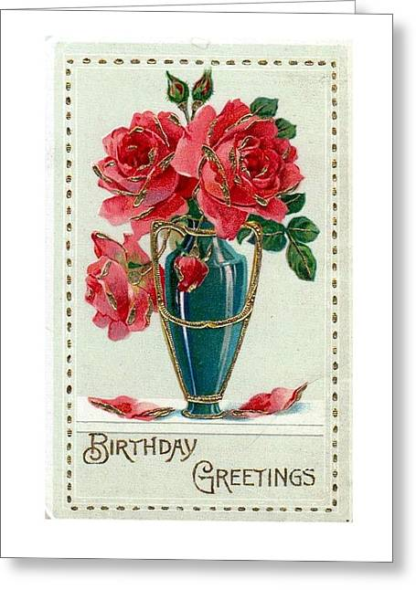 Birthday Greetings Roses Greeting Card By Olde Time Mercantile