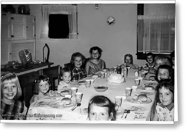Birthday Party Table Grove Illinois 1957 Greeting Card