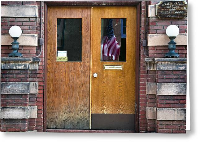 Historic Bisbee Building And American Flag Greeting Card by Dave Dilli