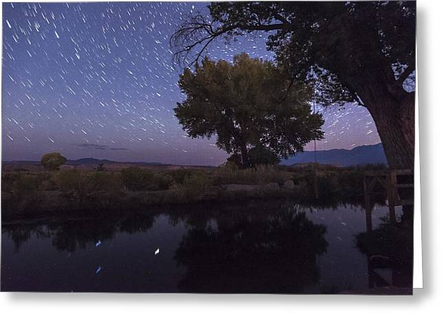 Bishop Canal Star Trails Greeting Card by Cat Connor