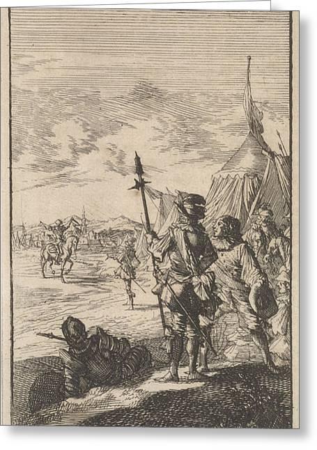 Bishop Mazarin Close The Peace Treaty Of Cherasco Greeting Card by Caspar Luyken And Boudewijn Van Der Aa