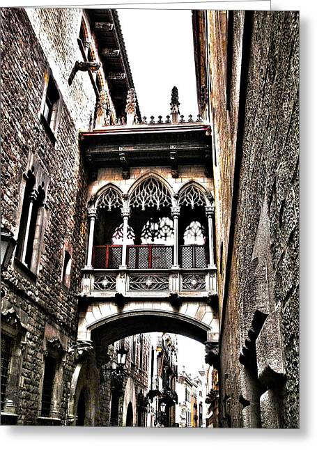 Bishop's Street - Barcelona Greeting Card by Juergen Weiss