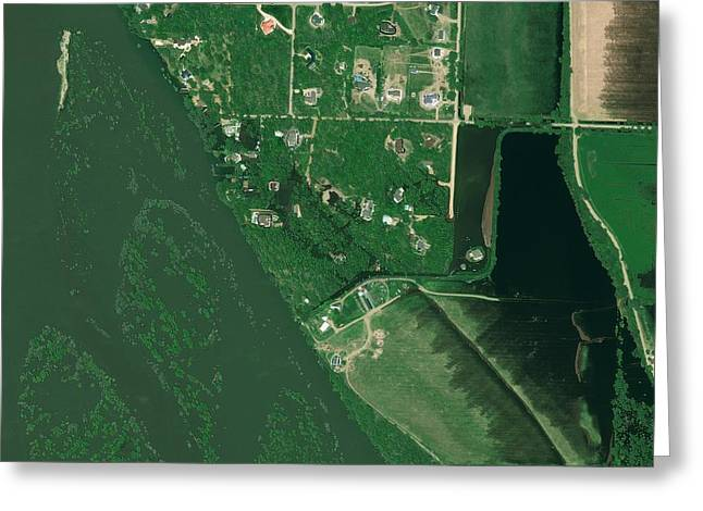 Bismarck Flooding, Usa, Satellite Image Greeting Card by Science Photo Library