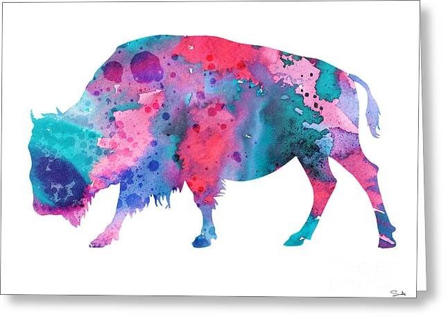 Bison 2 Greeting Card by Watercolor Girl