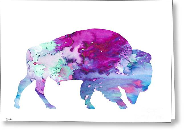 Bison 4 Greeting Card by Watercolor Girl