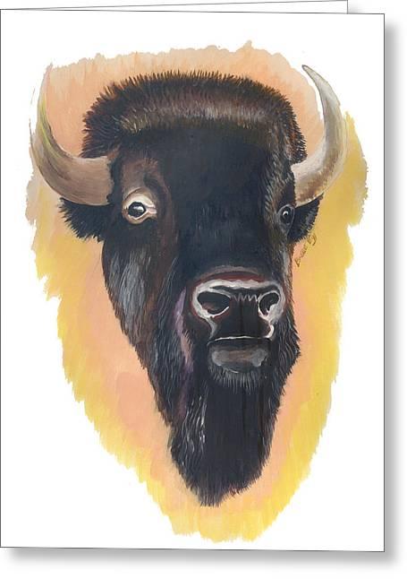 Bison Greeting Card by Emmanuel Baliyanga