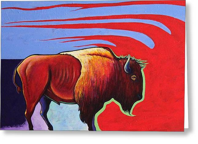 Bison In The Winds Of Change Greeting Card by Joe  Triano