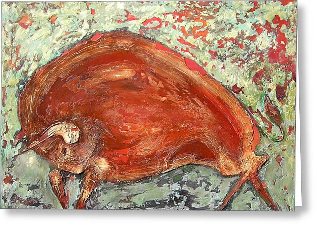 Bison Mixed Media Greeting Cards - Bison Greeting Card by Kristine Mueller Griffith