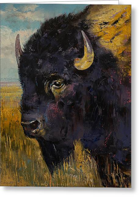 Bison Greeting Card by Michael Creese