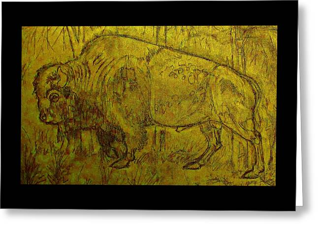 Greeting Card featuring the drawing Golden  Buffalo by Larry Campbell