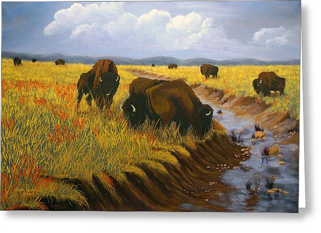 Greeting Card featuring the painting Bison Still Roam The Plains by J Cheyenne Howell