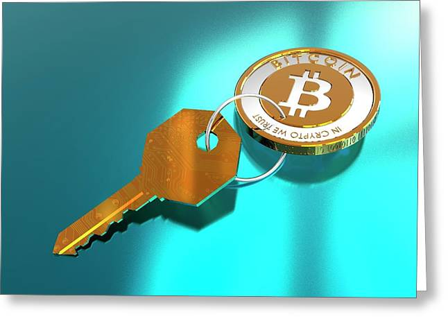 Bitcoin And Key Greeting Card by Victor Habbick Visions/science Photo Library