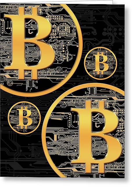 Bitcoin Logo On Circuit Board Greeting Card