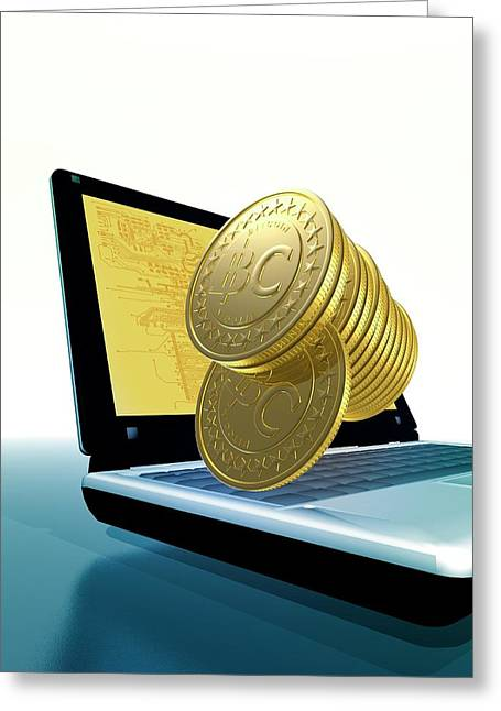 Bitcoins And A Laptop Greeting Card by Victor Habbick Visions